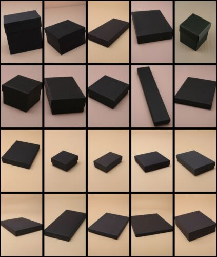 Black Jewellery Gift Boxes Necklace Bracelet Ring Watches  Wholesale Bulk 12pk