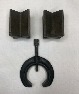 Pair Of Ls Starrett 268 V Blocks 1 Clamp