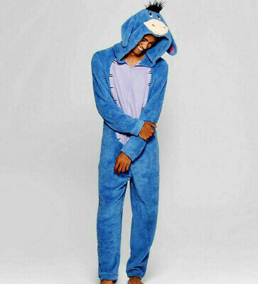 Disney Adult Eeyore Plush Union Suit One Piece Warm Pajama Costume Large Medium