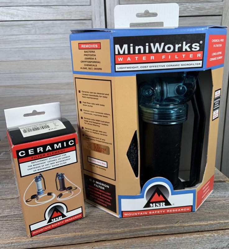 MSR MiniWorks Water Filter Ceramic Water Filter Purifier + Extra Filter Element