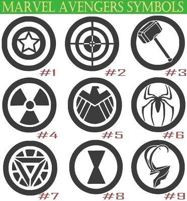 Marvel Avengers Symbols Vinyl Decal Sticker Superhero Car Wall Window Laptop - Avengers Symbols
