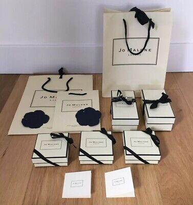 JO MALONE LONDON BOXES x 5 CARRIER BAGS x 3 & GIFT TAGS x 4 & RIBBON & TISSUE