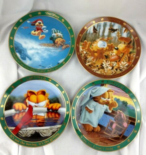 "Garfield collectible plates set of 4  Jim Davis 8"" plates"