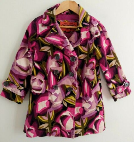 MISSONI x TARGET Girls 18-24 mo Pink Purple Floral Velvet Trench Pea Coat Jacket