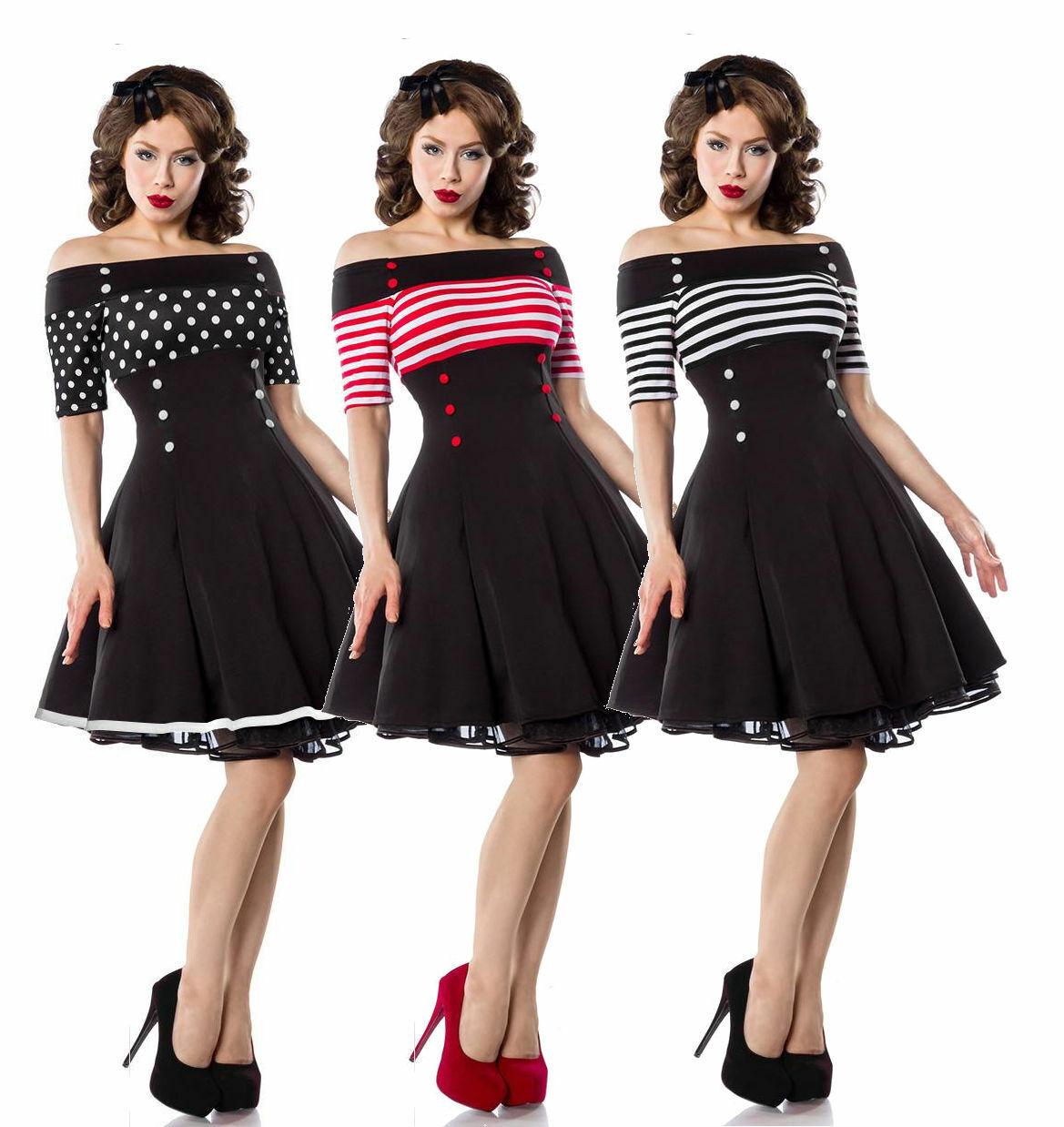 Schulterfreies Retro Rockabilly 50er Jahre Pin up Vintage Kleid Baumwolle