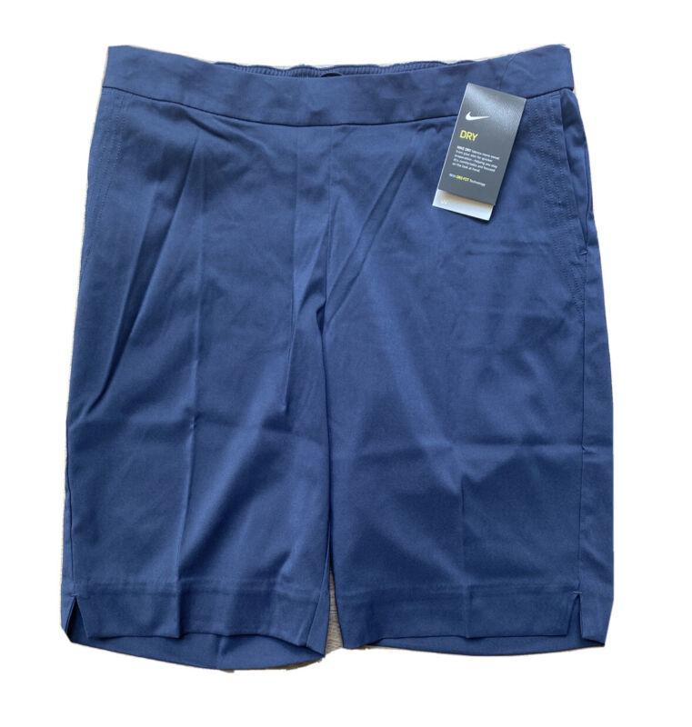 "Womens Size XL Nike Dri-Fit UV 11"" Bermuda Golf Shorts Dark Blue AJ5663-451"