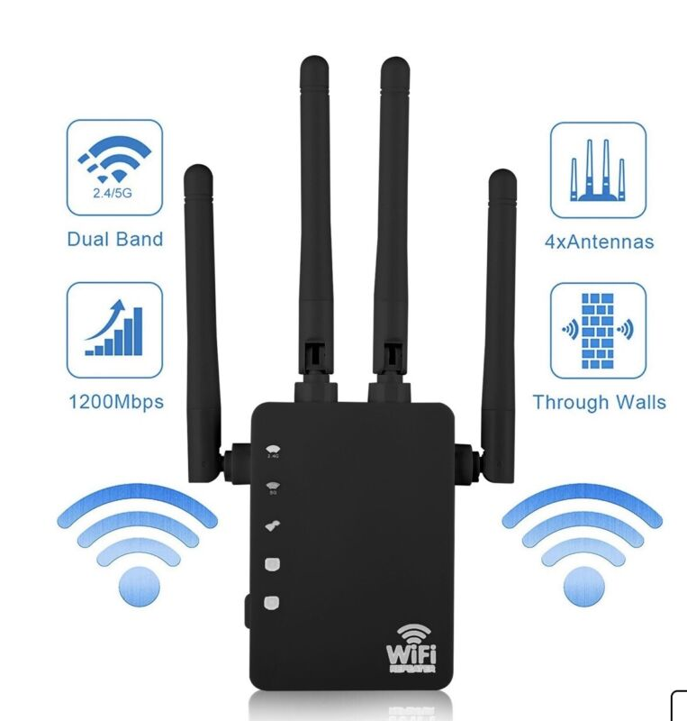 Wifi Range Extender 1200Mbps Wifi Repeater wireless Signal Booster,2.4 & 5GHz