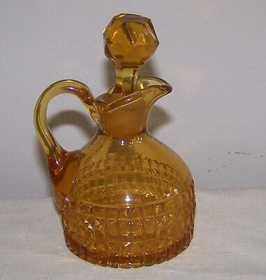 VICTORIAN EAPG AMBER SQUARE PATTERN CRUET LATE 1800'S