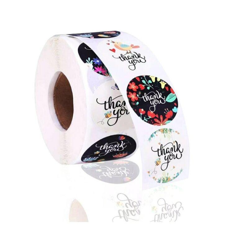THANK YOU Stickers Labels (100 Pack) 1.5 in Waterproof 6 Designs Easy Peel