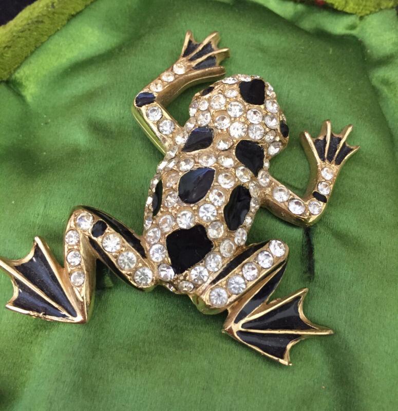Vintage Jewellery Adorable Crystal And Enamel Large Frog Brooch Signed