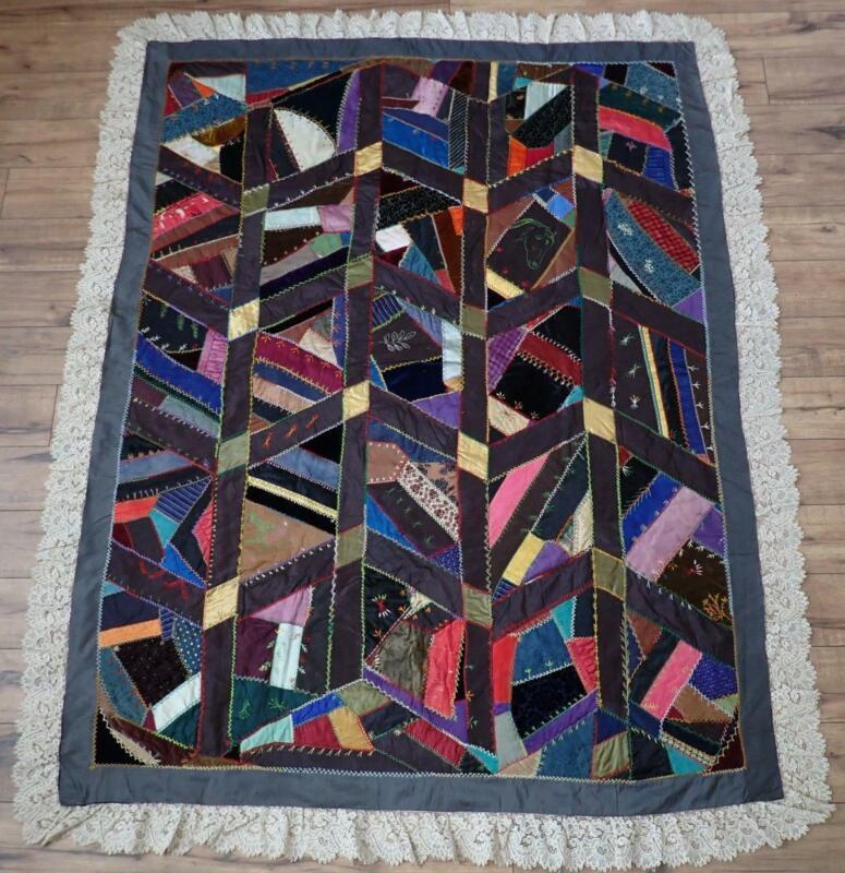 Antique Dated 1888 Victorian Silk & Velvet Crazy Quilt Lace Trim