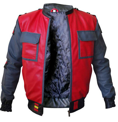 BTTF Jacket Marty McFly Back To The Future 2015 Bomber Costume Leather Jacket (Bomber Jacket Costume)