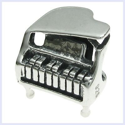 925 Sterling Silver Baby Grand Piano Music Note Bead for Eur