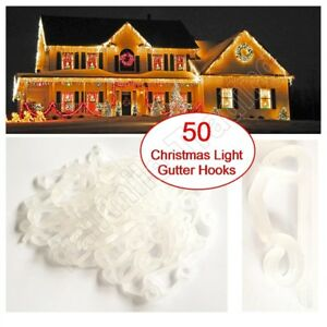 50 External Gutter Hooks Clips Christmas Icicle Fairy Lights LED Tile Roof Clear