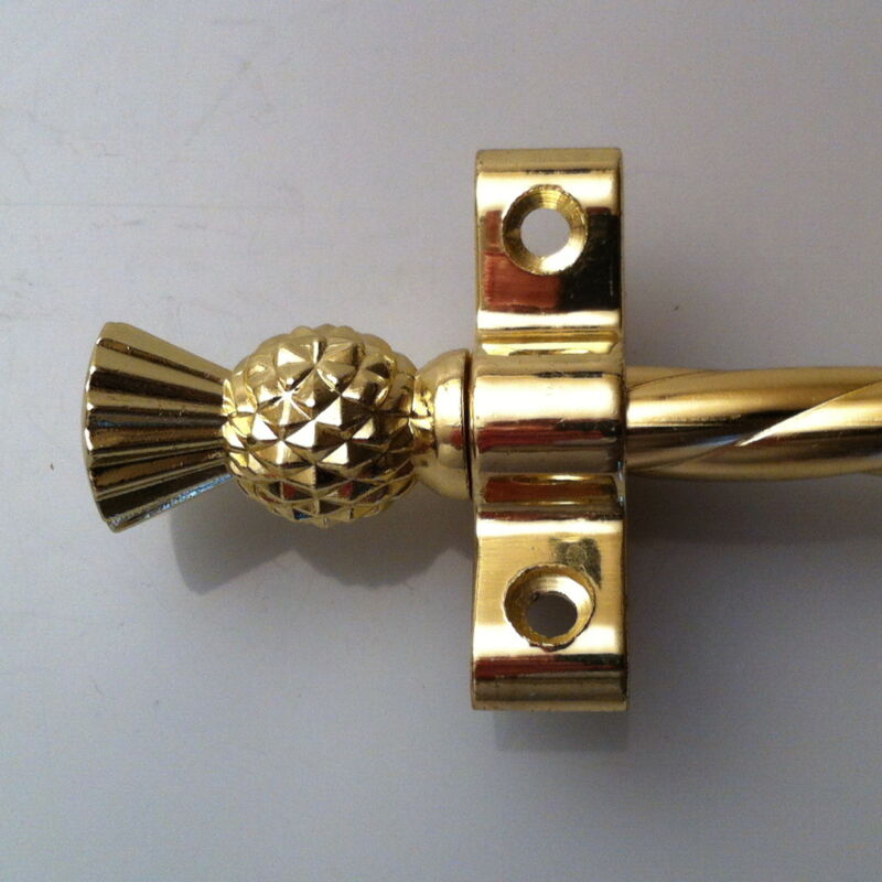 """SET OF 13 3/8"""" ROPE POLISHED BRASS THISTLE FINIAL STAIR RODS (R01ROT)"""