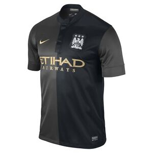 Nike-Manchester-City-Season-2013-2014-Away-Soccer-Jersey-Brand-New-Black-Gold