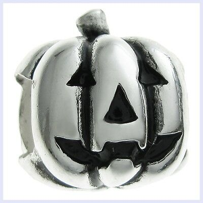 Sterling Silver Jack-O-Lantern Pumpkin Halloween Bead f/ European Charm - U2 Halloween