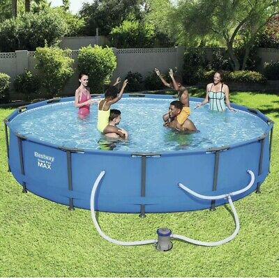 Steel Pro 14 ft Round x 33 in Deep Above Ground Swimming Pool Package Backyard Deep Swimming Pool Package