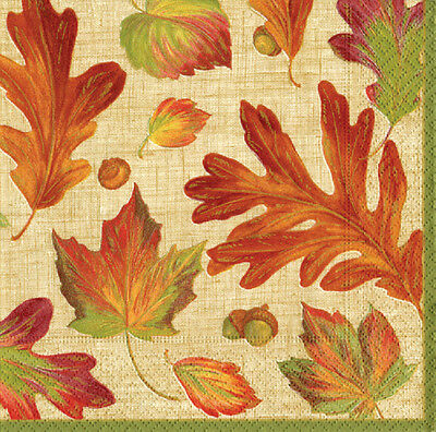 Linen leaves Autumn leaf Caspari luxury paper table napkins 20 pack 33cm