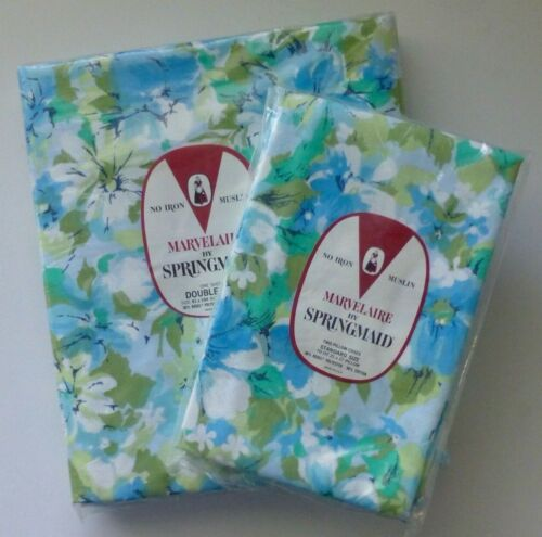 NOS Vintage SPRINGMAID MOON FLOWER Double Full Flat Sheet AND Pillowcases 1970