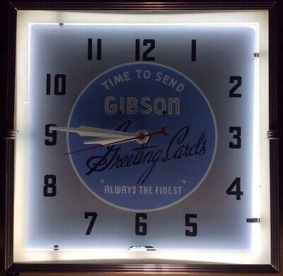 "ORIGINAL VINTAGE 1950s ""GIBSON GREETING CARDS"" NEON CLOCK ADVERTISING SIGN RARE"