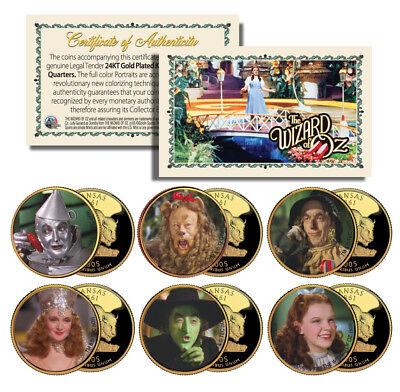 WIZARD OF OZ Kansas US Statehood Quarter 24K Gold Plated 6-Coin Set *Licensed*