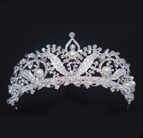 Phoenix Clear Austrian Rhinestone & Pearls Tiara Crown Bridal Prom Pageant T23b