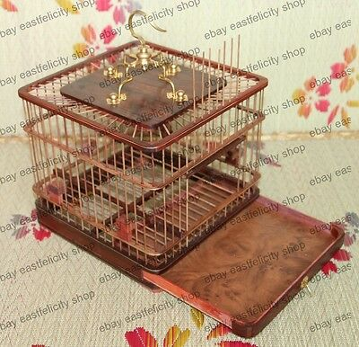 Exquisite Handmade Rosewood&Bamboo Stick Inlay Copper Bird cage 9""