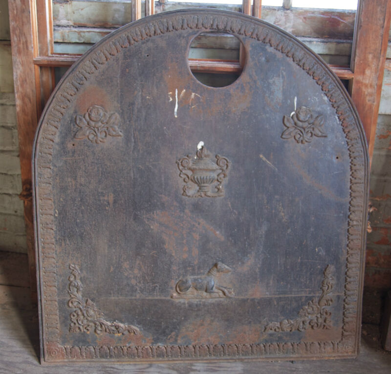 Antique Woodstove Sheetmetal Fireback with Fine Decoration