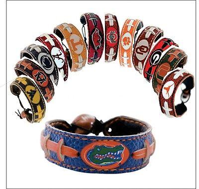 NCAA Team Color Leather Football Bracelet - Pick Team Team Color Leather