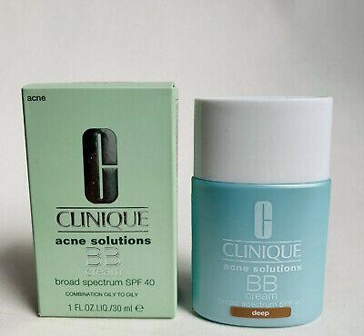 Clinique Acne Solutions BB Cream SPF40 Deep 1 Oz New In Box