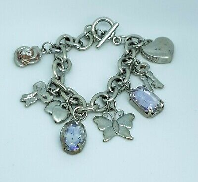 Johnny Loves Rosie Bracelet With Charms Heart Key Butterfly Flower Bow Gem Charm