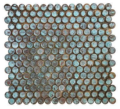 (Backsplash Kitchen Bath Fireplace - Antique Patina Penny Round Copper Tile)