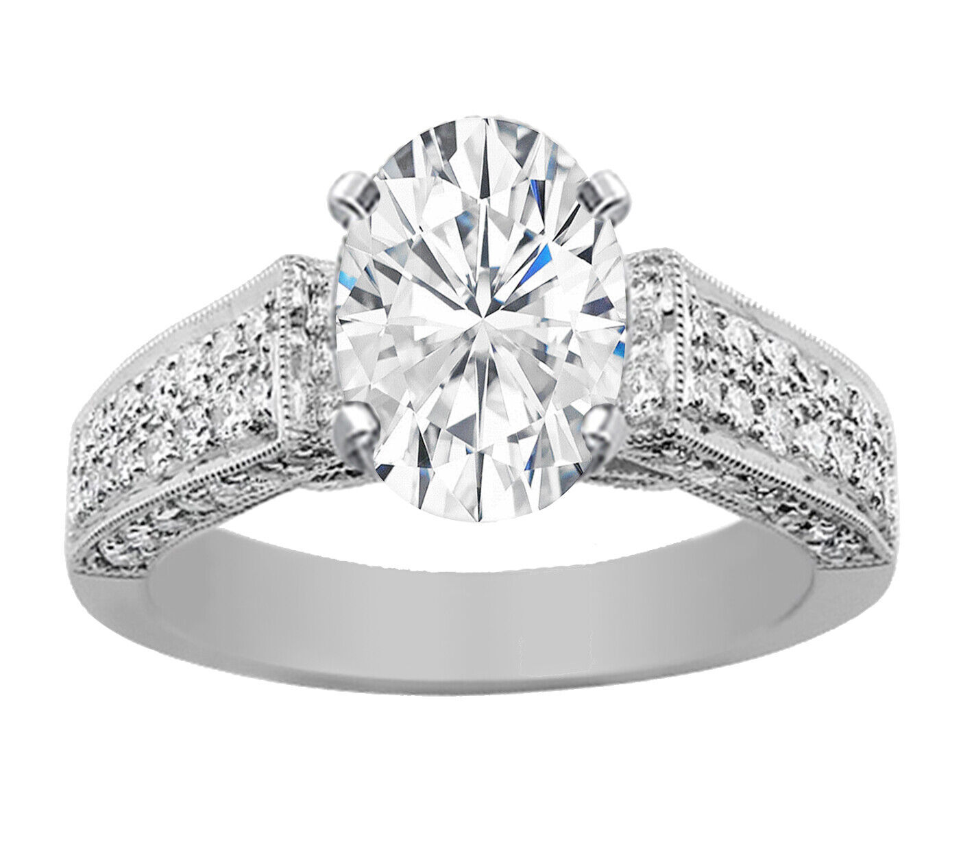 GIA Certified Diamond Engagement Ring 2.05 CT Oval Shape & Round Shape 14k Gold