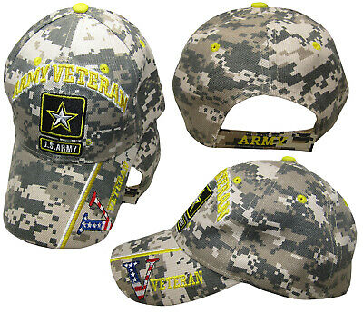 "U.S. Army Star Veteran Vet USA Flag ""V"" ACU Digital Camo Embroidered Cap Hat"