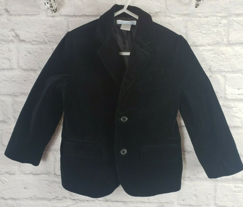 Janie and Jack Boys Size 3 Black Velvet Double Button Blazer