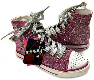 Girls AIRWALK Pink Sparkle Hi-top Tennis Shoes Crystals Youth / Women's NWT