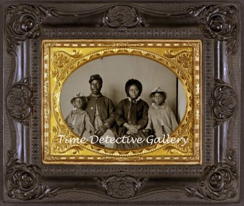 Daguerreotype Image of African American Union Soldier & Fam - 1864 - Photo Print
