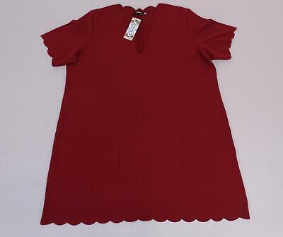 boohoo Women's Plus Scallop Edge V Neck Shift Dress SV3 Berry Size US:18 NWT