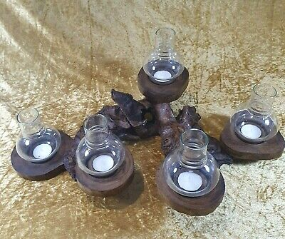 *Freedom Tree* Unique Teak Root Wooden Tea Light Holder With 5 Glass Lanterns