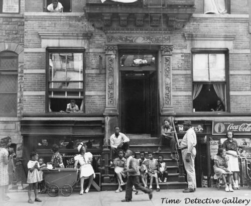 Summer Day at a Harlem Tenement, New York - 1930s - Vintage Photo Print