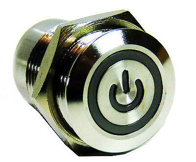 18mm Red LED Illuminated ON/OFF Push Button Switch Stainless Steel 4 Pin 12V