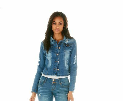 Cover Girl Jeans Blue Fitted Cropped Denim Jacket for Women