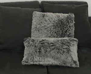 Grey Fur Throw Pillows
