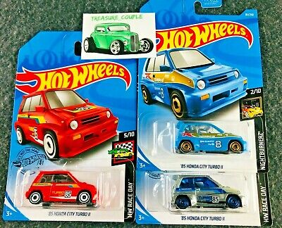 Hot Wheels - Lot of 3 - HONDA - '85 City TURBO - NEW ZAMAC! - Red & Blue - C121