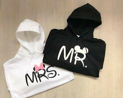 Personalised Disney Mr & Mrs Hoodie Jumper Couples Just Married Honeymoon Unisex