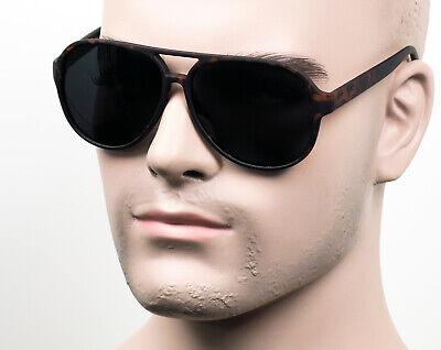 Large Super Dark Aviator Vintage Style Sunglasses Soft Feel Matte/Tortoise (Dark Aviator Sunglasses)