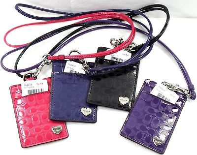 NWT Coach Id Lanyard Card Holder/Case Leather Lilac/Purple/Pink/Blue Badge 62406