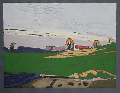 Klaus Fussmann spitzen Farblinolschnitt Landschaft in tollen Farben, vergriffen