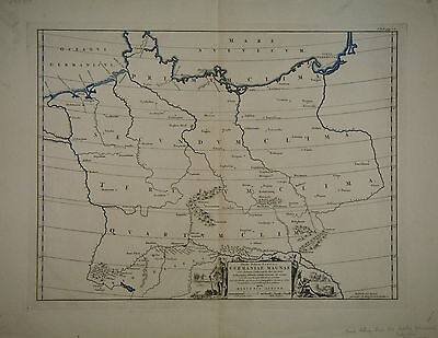 1697 Genuine Antique map of Germany.  by Menso Alting
